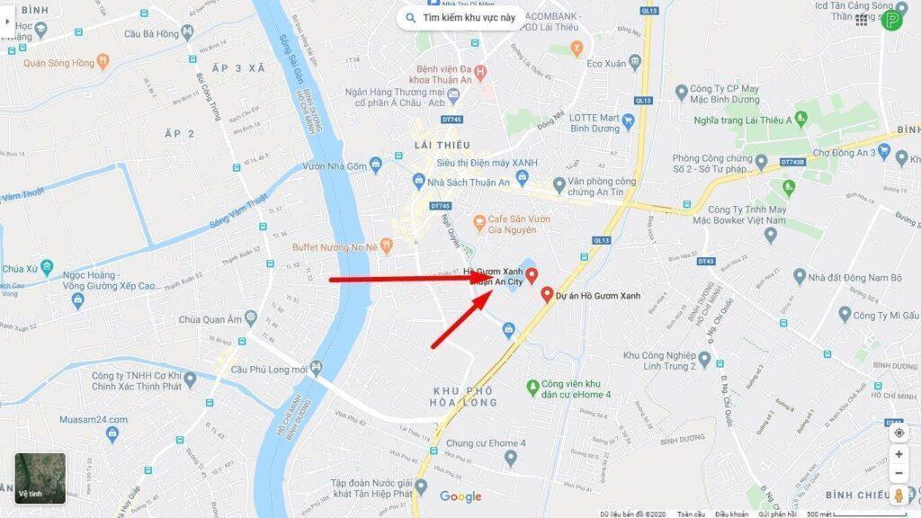 Bản đồ vị trí dự án hồ gươm xanh