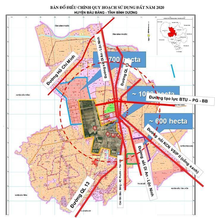 Sơ đồ cho thấy dự án tại trung tầm Bàu Bàng, điểm kết nối nhiều giao lộ trọng yếu.
