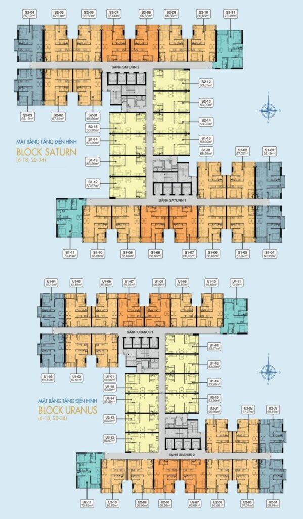 Mat bang block uranus va saturn