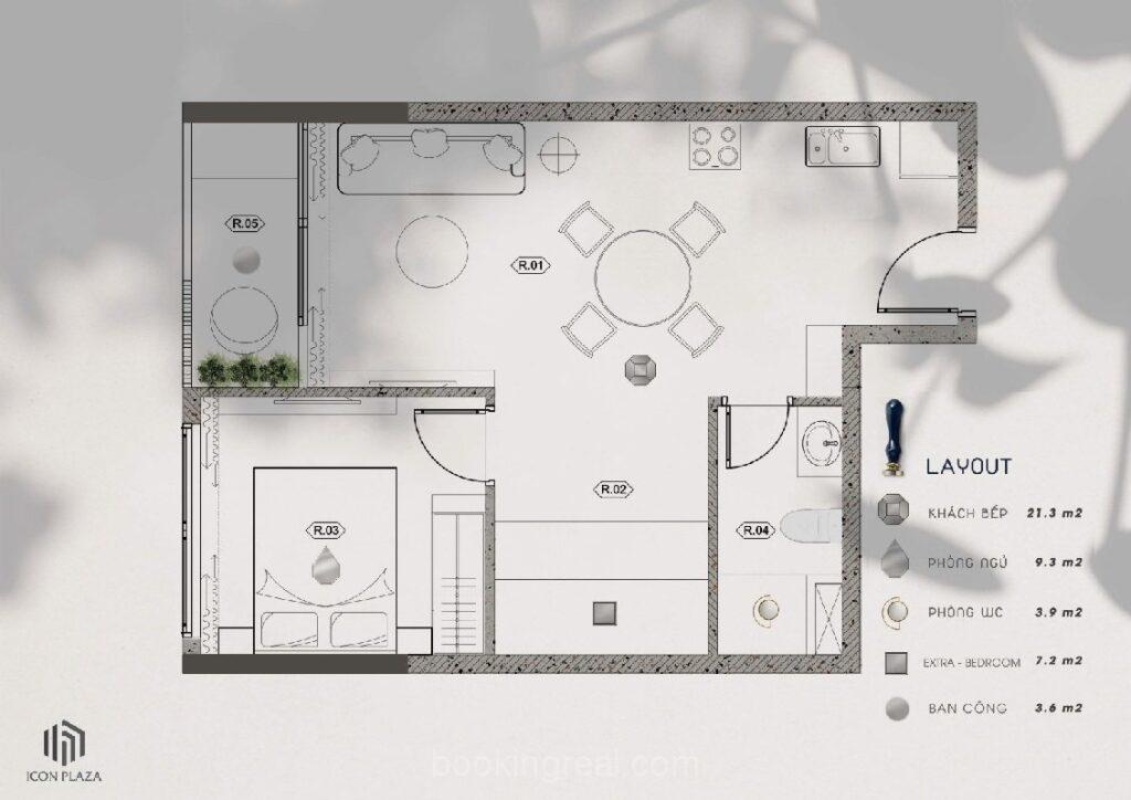 Bản vẽ căn 1 phòng ngủ