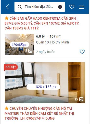 Kích thước hình ảnh đăng tin batdongsan. Com. Vn trên mobile